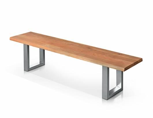 TOBAGO Sitzbank, Material Massivholz/Metall, Wildeiche / Fuß Edelstahlfarbig lackiert