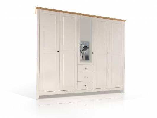 emilia massivholz kleiderschrank kiefer creme absetzung eiche massiv 233 cm 5 t rig. Black Bedroom Furniture Sets. Home Design Ideas