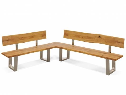 ZADAR Eckbank mit Rückenlehne und Baumkante, Material Massivholz / Edelstahl, Wildeiche