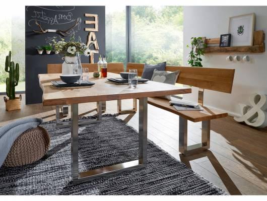 zadar eckbank mit r ckenlehne und baumkante wildeiche ge lt fu edelstahl 130 x 200 cm links. Black Bedroom Furniture Sets. Home Design Ideas
