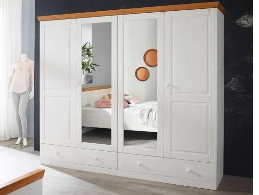 dover kleiderschrank 4trg kiefer wei honig. Black Bedroom Furniture Sets. Home Design Ideas