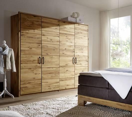 SALVADOR Kleiderschrank 4trg 240 cm, Material Massivholz, Wildeiche gerissen