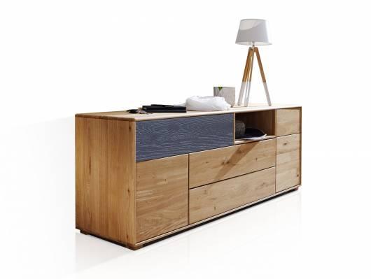 LAGOS Lowboard II, Material Massivholz, Wildeiche / Schubkastenfront grau