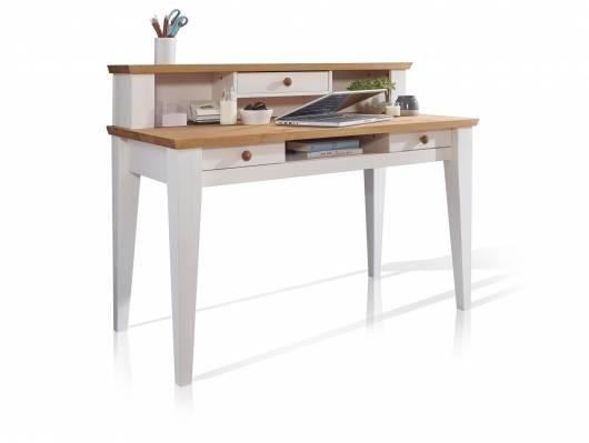 BORNHOLM Schreibtisch, Material Massivholz, Kiefer weiss/eichefarbig