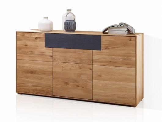 LAGOS Sideboard II, Material Massivholz, Wildeiche/Schubkastenfront grau