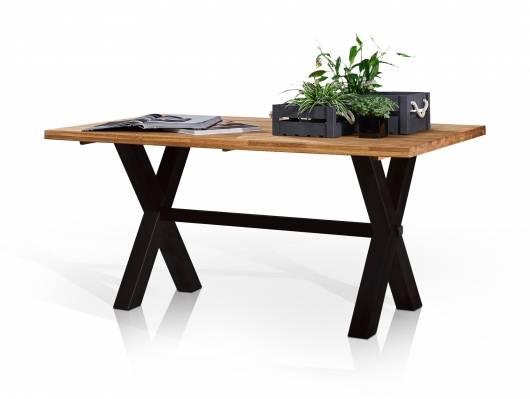 YANNICK Esstisch, Material Massivholz/Metall, Wildeiche/X-Füße schwarz