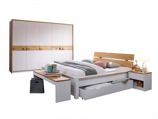 TARINA Komplett Schlafzimmer, Material Massivholz, weiss lackiert/laugenfarbig geölt