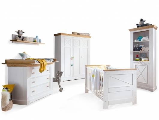 CARLY Komplett-Babyzimmer, Material Massivholz, Kiefer weiss/eichefarbig