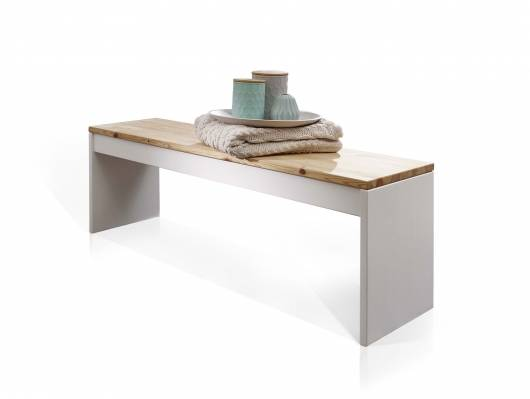 TARINA Bettbank, Material Massivholz, weiss lackiert/laugenfarbig geölt