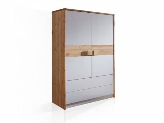 TARINA Wäscheschrank 2-trg + 2 SK, Material Massivholz, weiss lackiert mit Baumbinde Kiefer geölt