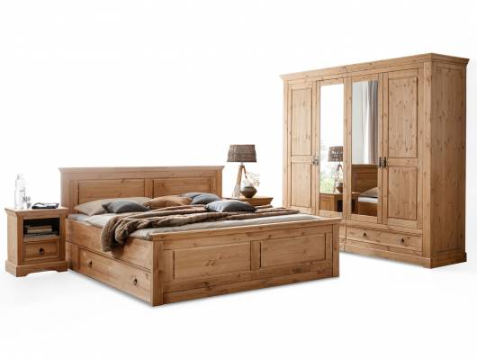 PALERMO Komplett-Schlafzimmer, Material Massivholz, Kiefer eichefarbig gebeizt