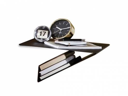 SANTERO Hängenachtkommode I mit Ablage, Metall, schwarz