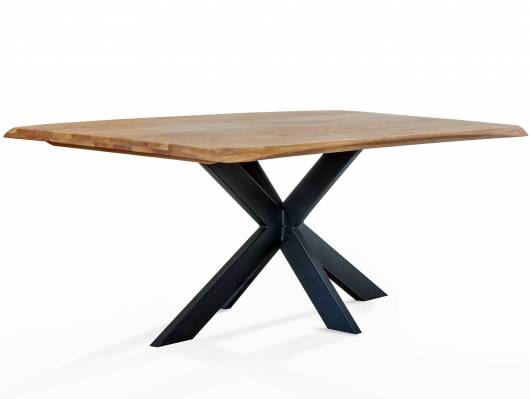 KABIRA Massivholztisch 200x100 cm, Wildeiche geölt/Metallgestell Doppel-X