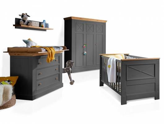 CARLY II Babyzimmer, Material Massivholz, Kiefer grau/eichefarbig