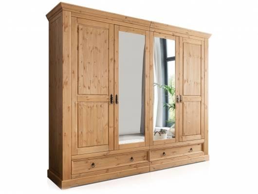 PALERMO Kleiderschrank, Material Massivholz, Kiefer eichefarbig gebeizt