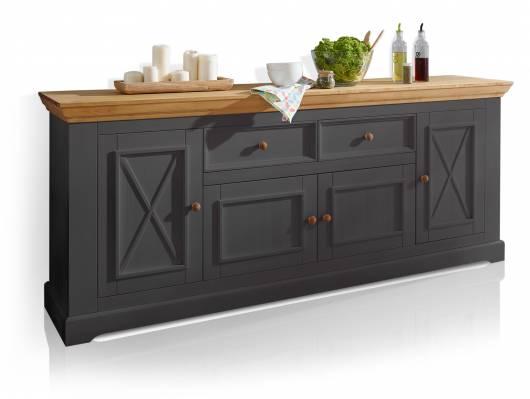 BORNHOLM II Sideboard I, Material Massivholz, Kiefer grau/eichefarbig
