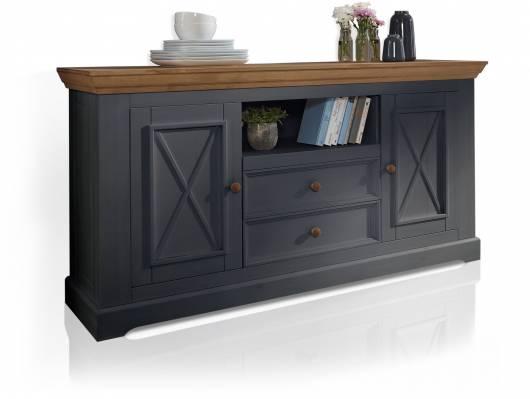 BORNHOLM II Sideboard II, Material Massivholz, Kiefer grau/eichefarbig