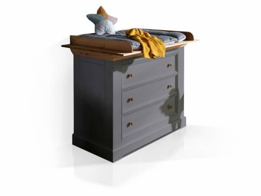 CARLY II Wickelkommode, Material Massivholz, Kiefer grau/eichefarbig