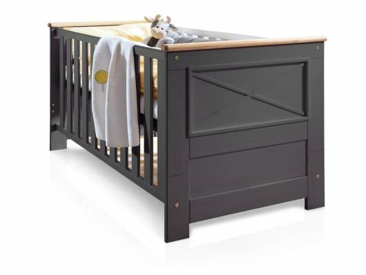 CARLY II Babybett, Material Massivholz, Kiefer grau/eichefarbig