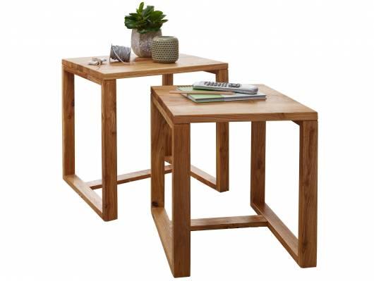 MARITA Zweisatztisch, Material Massivholz, Wildeiche geölt