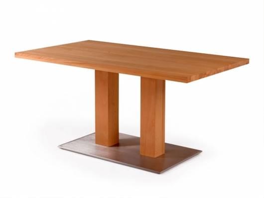 ORLEANS Massivholztisch / Säulentisch, Material Massivholz/Edelstahl