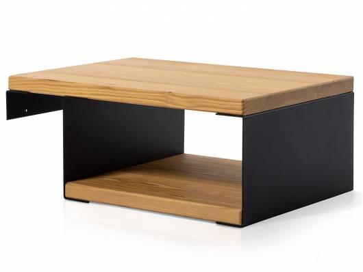 CURBY Nachtkommode für Balkenbett,  Material Massivholz/Metall, rustikale Altholzoptik, Fichte/schwarz