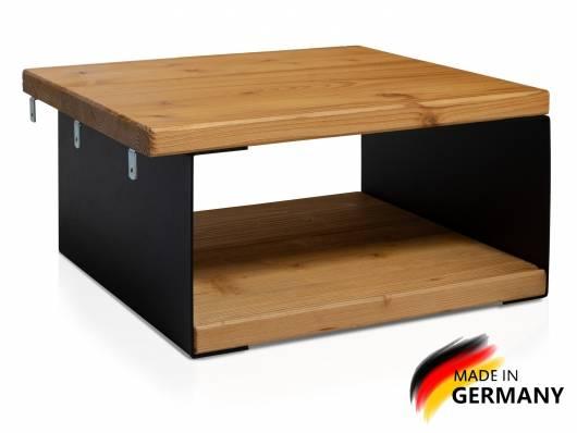 CURBY Nachtkommode, Material Massivholz/Metall, rustikale Altholzoptik, Fichte/schwarz