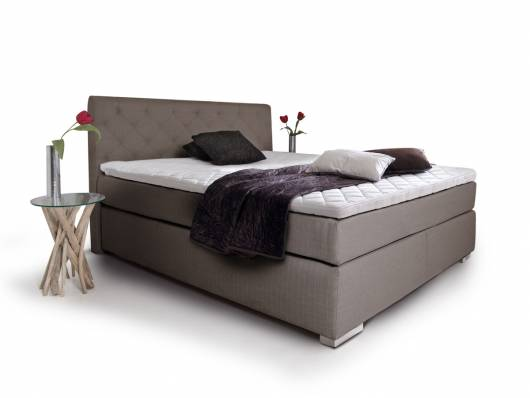 premium boxspringbett inkl kopfteil 90 x 200 cm hellbraun h rtegrad 2. Black Bedroom Furniture Sets. Home Design Ideas