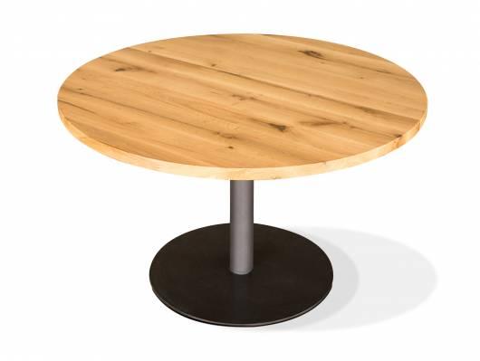 GASTRO Esstisch rund, Material Massivholz/Metall, Eiche lackiert
