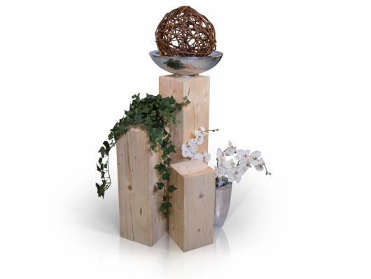 Blumensäulen 3-er Set, Material Massivholz, Fichte massiv