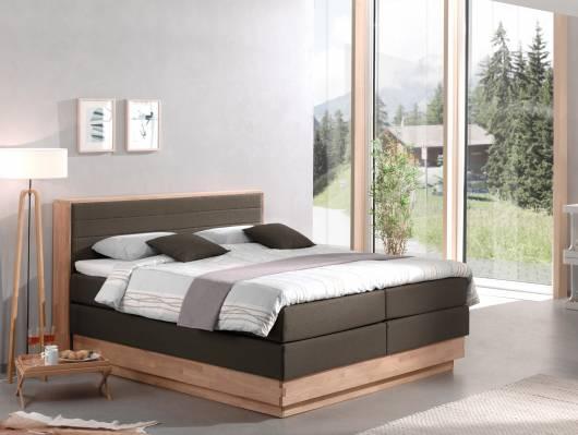 MENOTA Boxspringbett mit Bettkasten, massivem Holzrahmen und Stoffbezug