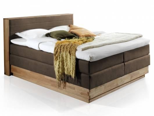 MENOTA Boxspringbett mit Bettkasten, massivem Holzrahmen und Bezug im Vintage Look