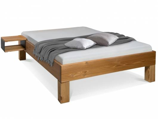 CURBY 4-Fuß-Bett, Material Massivholz, rustikale Altholzoptik, Fichte gebürstet
