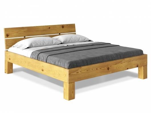 CURBY 4-Fuß-Bett, Material Massivholz, rustikale Altholzoptik, Fichte