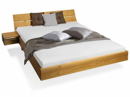 CURBY Wangenbett mit Kopfteil, Material Massivholz, rustikale Altholzoptik, Fichte gebürstet