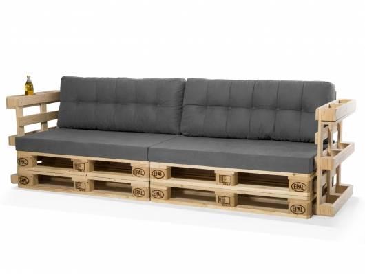 PALETTI Europaletten-Sofa, 3-Sitzer, mit Armlehnen, Fichte massiv
