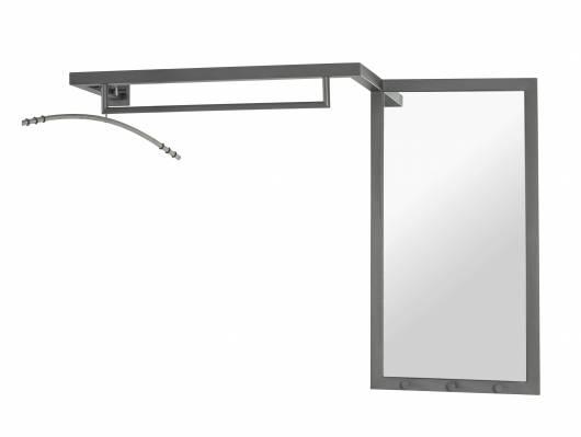 WELDO Wandgarderobe mit Spiegel, Material Stahlrohr anthrazit