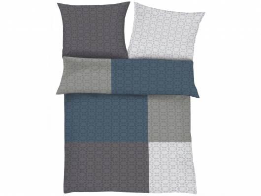 S.OLIVER Satinbettwäsche 135x200+80x80, Baumwollsatin, grau/blau