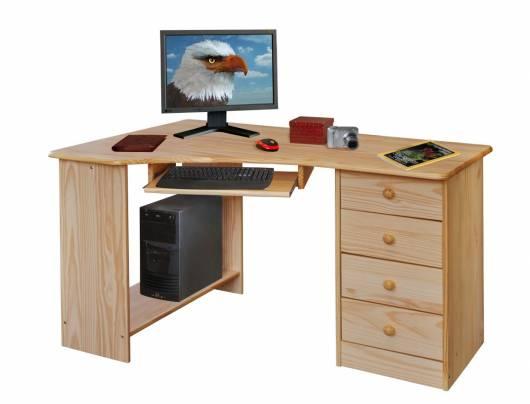LEARD PC-Schreibtisch, Material Massivholz, Kiefer lackiert