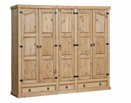 COLMAN Kleiderschrank, Material Massivholz, Kiefer honig gewachst