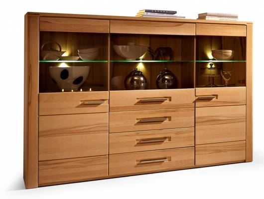 NESTOR PLUS Highboard, Material Teilmassiv, Kernbuche lackiert