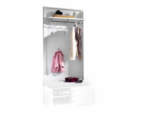 GRANDE Garderobenpaneel, Material Dekorspanplatte, weiss Hochglanz