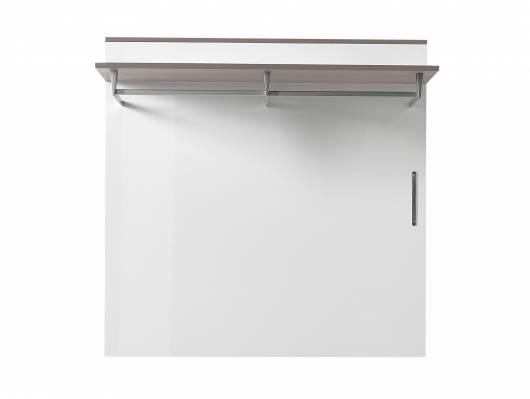 RENE Garderobenpaneel, Material Dekorspanplatte, weiss Hochglanz