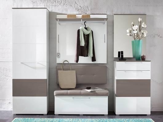 RENE Garderoben Kombination, Material Dekorspanplatte, weiss Hochglanz
