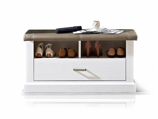 LOUISA Sitzbank, Material Dekorspanplatte, piniefarbig/taupe