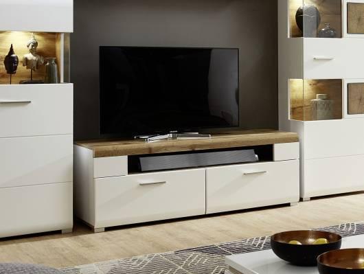 FELIPA TV-Unterteil, Material MDF, weiss/eichefarbig