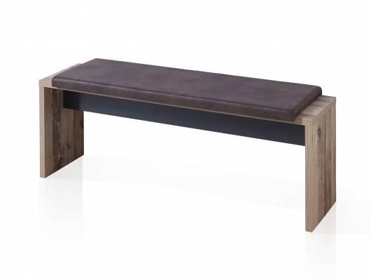 RAMINA Sitzbank mit Klemmkissen, 130x40 cm, Material Dekorspanplatte, Used Style braun