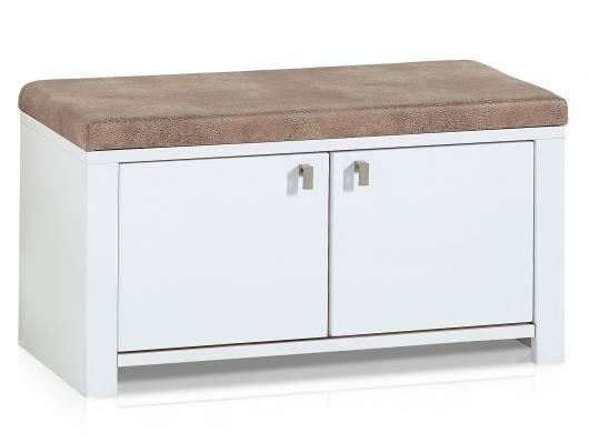 SEVINO Garderobenbank inklusive Sitzkissen, Material MDF, weiss/wildbuchefarbig