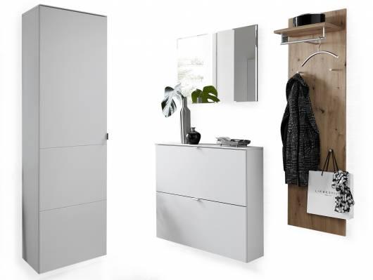 TEMIDO Garderobenset III, Material MDF, weiss/eichefarbig