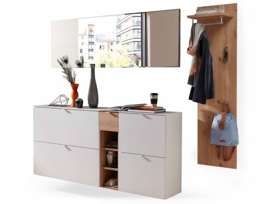 TEMIDO Garderobenset V, Material MDF, weiss/eichefarbig